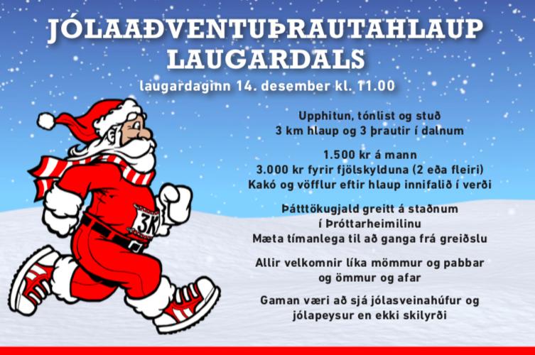 Jólaaðventuþrautarhlaup Laugardals laugardaginn 14. desember kl 11.00