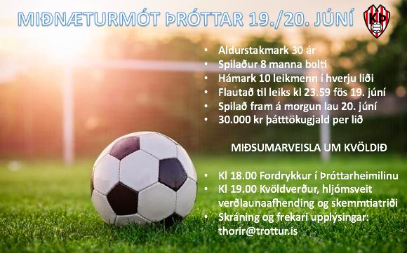 Miðnæturmót Þróttar fyrir eldri iðkendur 19. og 20. júní