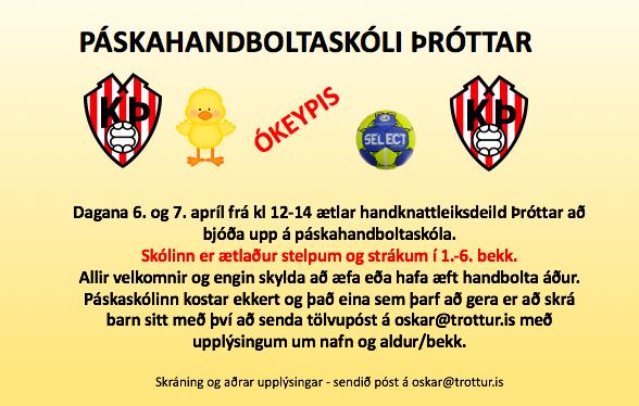 Páskahandboltaskóli Þróttar í Laugardalshöll 6. og 7. apríl
